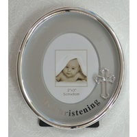 MY CHRISTENING Oval Frame, 100 x 85mm, Silver Plated