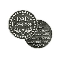 DAD I LOVE YOU, Pocket Token with Message, 31mm Diameter, Metal Oxide