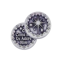 O COME LET US ADORE HIM... Pocket Token With Message/Prayer 31mm Diameter Metal