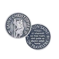 ST CHRISTOPHER, PATRON SAINT OF TRAVELERS, Pocket Token / Message, 31mm Diameter, Meta