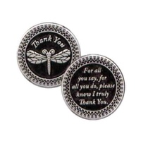 THANK YOU... Pocket Token With Message / Prayer 31mm Diameter Metal.