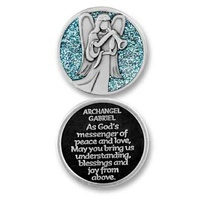 COMPANION COIN, ARCHANGEL GABRIEL, With Message, Prayer or Reading, 34mm Diameter, Metal