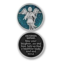 COMPANION COIN, ARCHANGEL RAPHAEL, Message, Prayer, Reading, 34mm Diameter, Metal