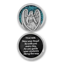 COMPANION COIN, TEACHER ANGEL, Message, Prayer or Reading, 34mm Diameter, Metal