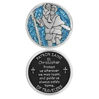 COMPANION COIN, ST CHRISTOPHER, PATRON SAINT OF TRAVELERS, W Message Prayer, 34mm Diameter, Metal