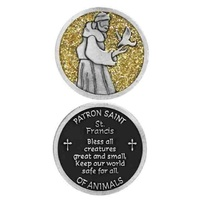 COMPANION COIN, ST FRANCIS, PATRON SAINT OF ANIMALS, W Message, Prayer or Reading, 34mm Diameter, Metal