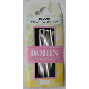 Bohin Crewel Embroidery Needles, Size 1, Pack of 12 Needles