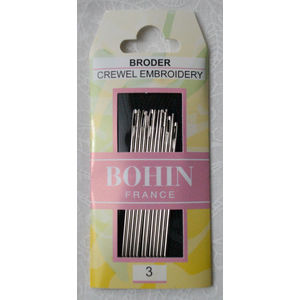 Bohin Crewel Embroidery Needles, Size 3, Pack of 12 Needles