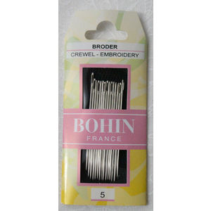 Bohin Crewel Embroidery Needles, Size 5, Pack of 15