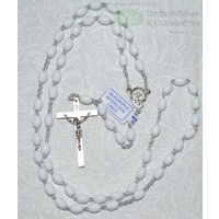WHITE Rosary, 46cm Overall, Quadruple Interlock Links, Great First Rosary.