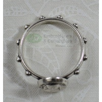 St Mary MacKillop Rosary Ring 17mm (internal), Silver Tone Metal