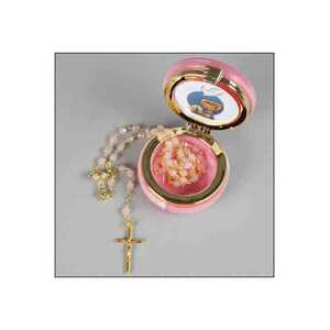 4mm Pink Crystal Communion Rosary In 50mm Round Pink Box