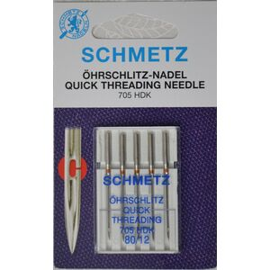 Schmetz Machine Needle, Quick Threading, Size 80/12, Pack of 5 Needles