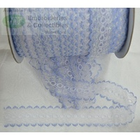 Iridescent Feather Edge Eyelet Lace, 37mm, SKY BLUE, Per 1 metre length