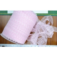 Uni-Trim Feather Edge Eyelet Lace, 37mm, PINK, Per 1 metre length