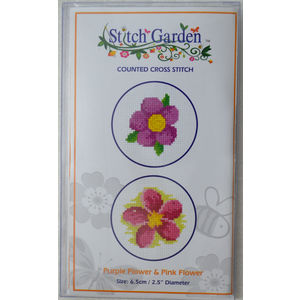 Stitch Garden Mini Counted Cross Stitch Kit, Purple Flower & Pink Flower