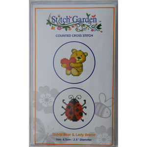 Stitch Garden Mini Counted Cross Stitch Kit, Teddy Bear & Lady Beetle