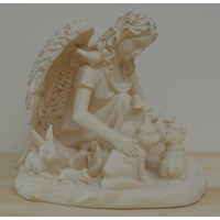 New Boxed, Large Guardian Angel of all Animals, Ivory Colour Resin, 117mm Statue