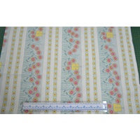 HEARTS & HAPPY FLOWERS BLUE BORDER 110cm Wide Per Metre