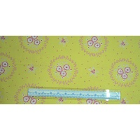 HEARTS & HAPPY FLOWERS YELLOW 110cm Wide Per Metre