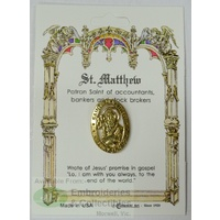 St. Mathew Patron Saint Lapel Pin, Gold Tone, Patron Of Accountants, Bankers and Stock Brokers