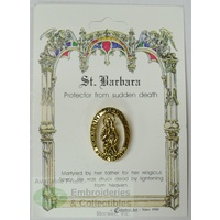 St. Barbara Lapel Pin, Gold Tone, Protector From Sudden Death