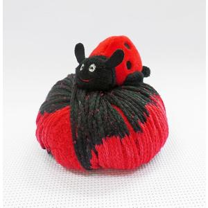 DMC Top This, 80g Ball of Continuous Texture Yarn, Child's Hat Pattern, LADYBUG Topper