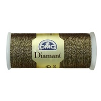 DMC Diamant Thread, 35m Hand Embroidery Thread, Colour D140, Dark Gold