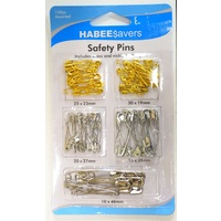 Habee$avers Safety Pins, 100 Pieces Assorted, Nickle Plate & Brass, FAST Postage