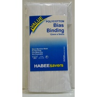 HabeeSavers Polycotton Bias Binding, WHITE, 12mm x 5m, 65% Polyester, 35% Cotton