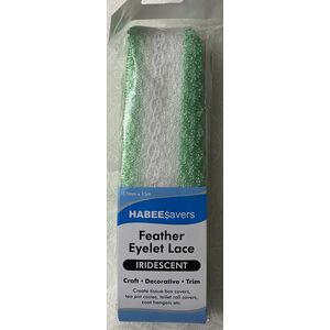 Habee$avers Feater Edge Eyelet Lace, 15m Pack, Iridecent Mint