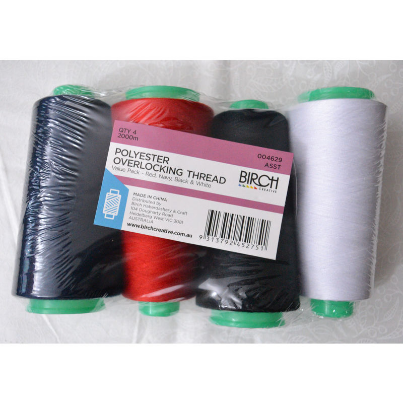 Birch 4 Pack ASSORTED Colour Overlocker Thread 2000m each Cone, 100% Polyester