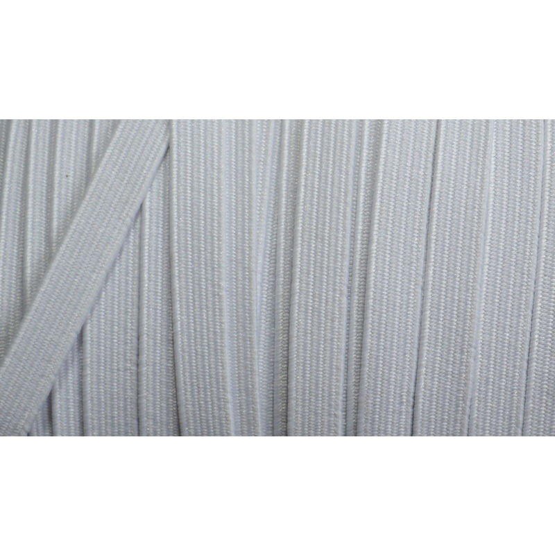 Premium Braided Elastic, 100% Polyester, 6mm, ULTRA WHITE Per Metre