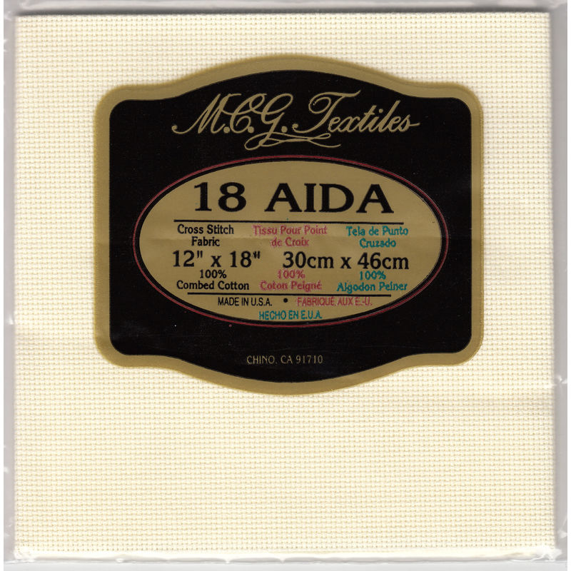 "Aida Cloth 31cm x 36cm (12"" x 14"") 18 Count, IVORY, 100% Combed Cotton Made in USA"