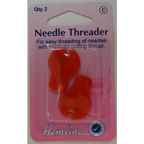 Hemline Needle Threader With Cutter, Packet Of 2, Easy Threading Of Needles