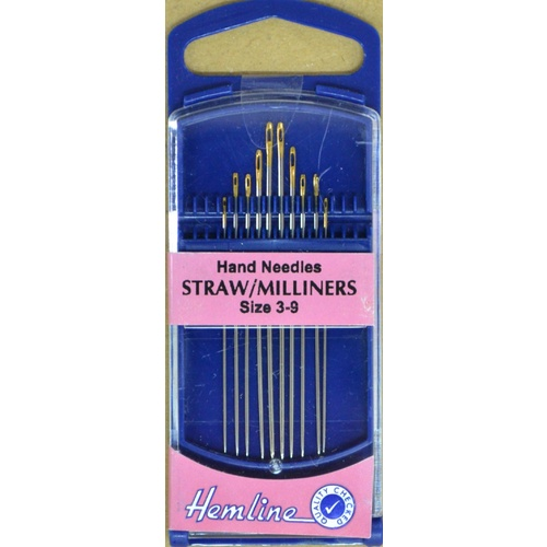 Premium Gold Eye Straw/Millners Needles Sizes 3-9, Pack of 6 Needles