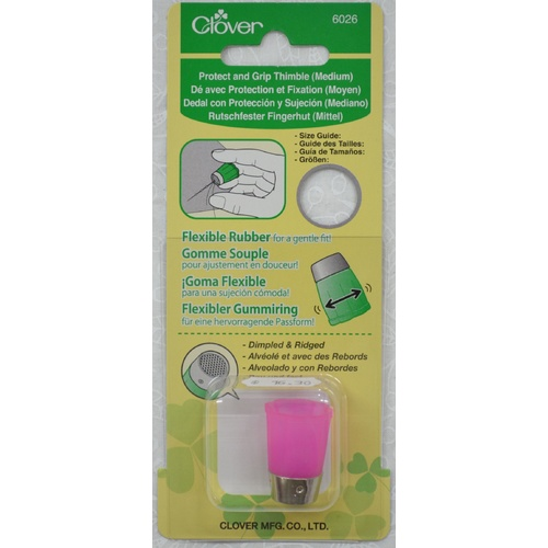 Clover Protect And Grip Thimble MEDIUM, Flexible Rubber Sides, Dimpled And Ribbed Top