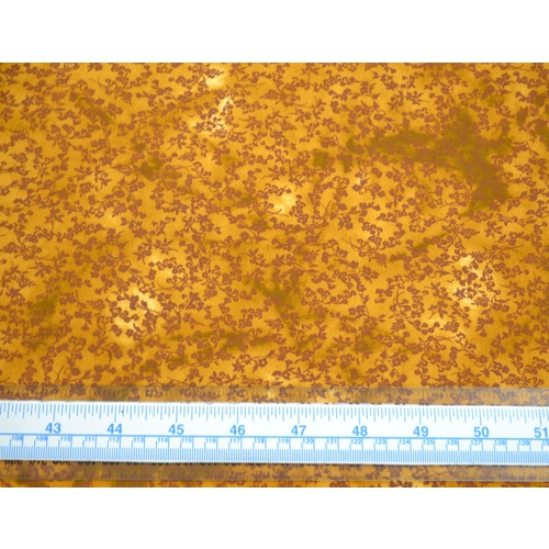 Cotton Fabric #5609.M, 110cm Wide Per Metre, BROWN Floral Sprigs