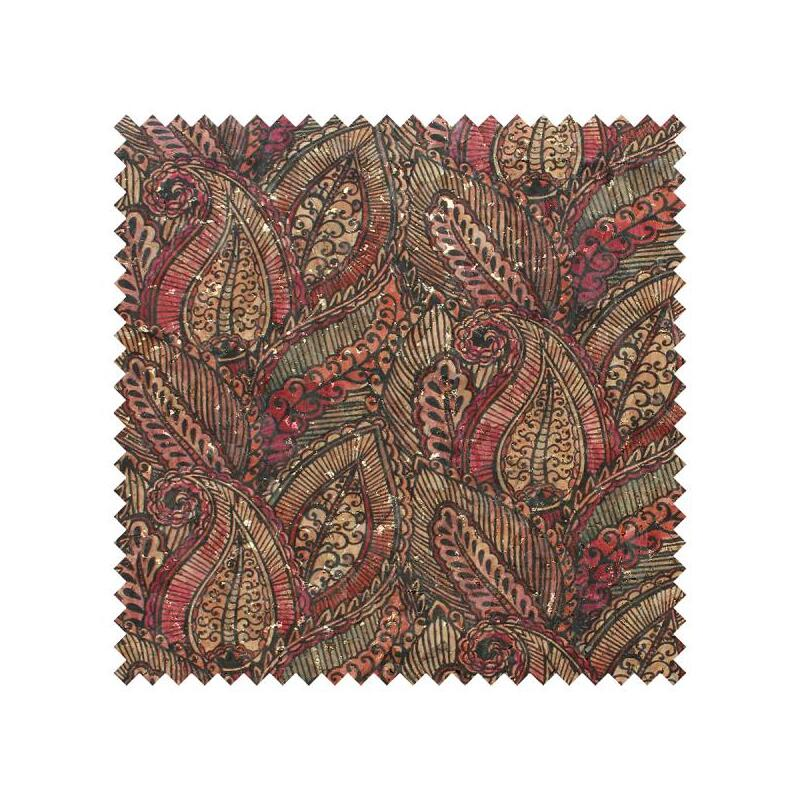 "CORK Fabric, 18"" x 15"" Prepack, For Bags, Purses, Red Paisley #1009"