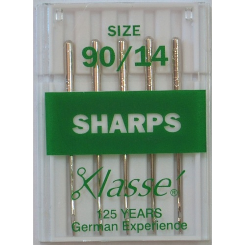 Klasse Sewing Machine Needles, SHARPS Size 90 / 14, Pack of 5 Needles