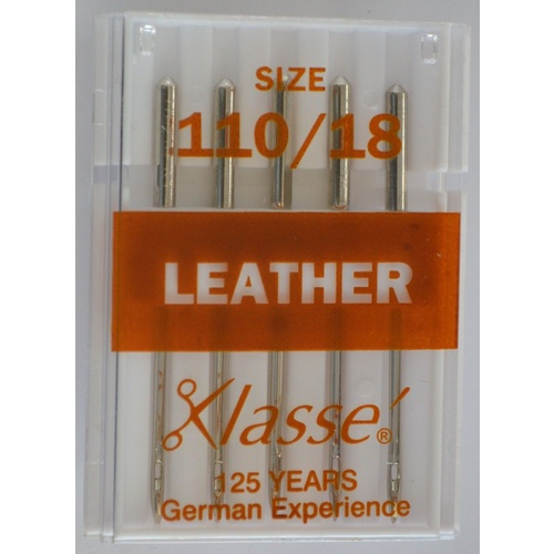 Klasse Sewing Machine Needles, LEATHER Size 110 / 18, Pack of 5 Needles
