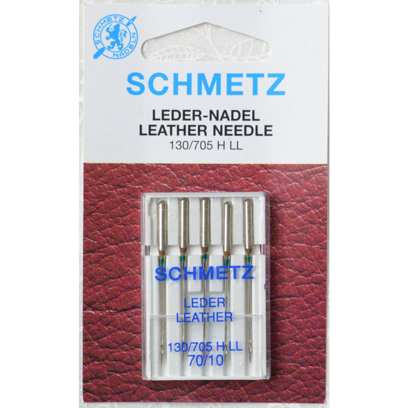 Schmetz Sewing Machine Needles, LEATHER Size 70 / 10, Pack of 5 Needles, 130/705H-J System
