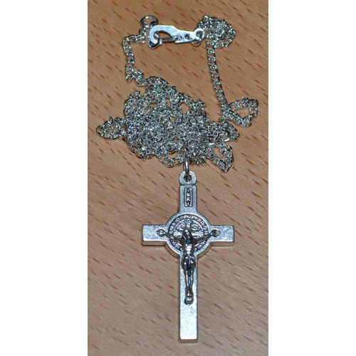 St Benedict Crucifix, 40mm Silver Tone, With 60cm Silver Plated Medium Chain