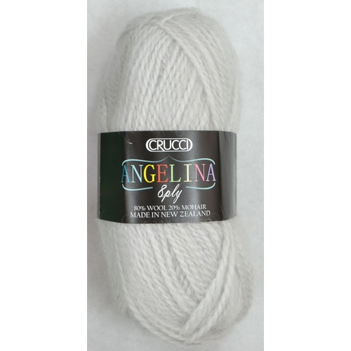 Crucci Angelina Knitting Yarn 80% Wool, 20% Mohair, 8 Ply 50g Ball, WHITE GREY