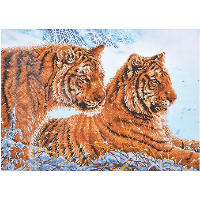 Diamond Dotz 5D Embroidery Facet Art Kit, TIGERS IN THE SNOW, Round Dots, Boxed Kit
