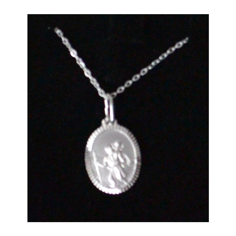 Sterling Silver ST CHRISTOPHER Coloured Medal Pendant and Chain In Box