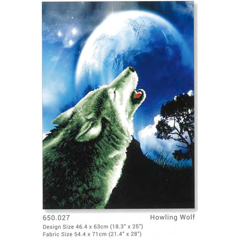 No Count Cross Stitch Kit HOWLING WOLF, 46.4 x 63cm