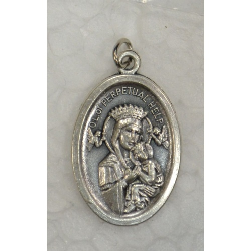 OUR LADY OF PERPETUAL HELP Medal Pendant, SILVER TONE, 22mm X 15mm, MADE IN ITALY
