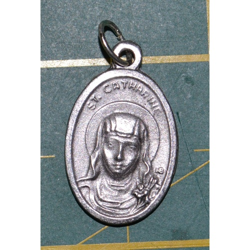 SAINT CATHERINE Medal Pendant, SILVER TONE, 22mm X 15mm, MADE IN ITALY
