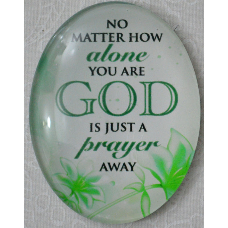 Magnet, 54 x 44mm Glass, Alone, God Just A Prayer Away